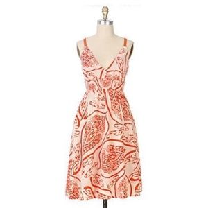 Anthropologie Maeve Orang Paisly Swimfins Dress